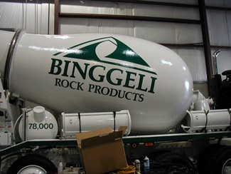 Binggeli Rock Products logo on Semi Truck