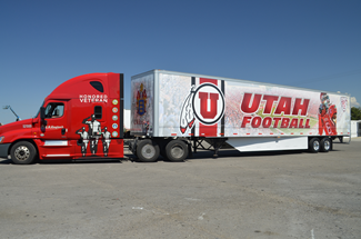 Utah Football Vehicle Wrap on Semi Truck