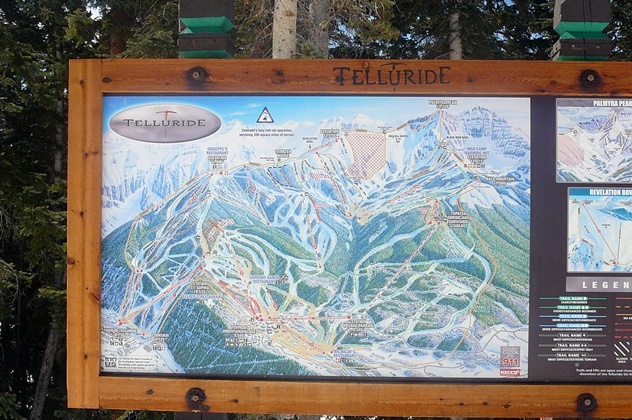 Printed Sign With Ski Trail Map
