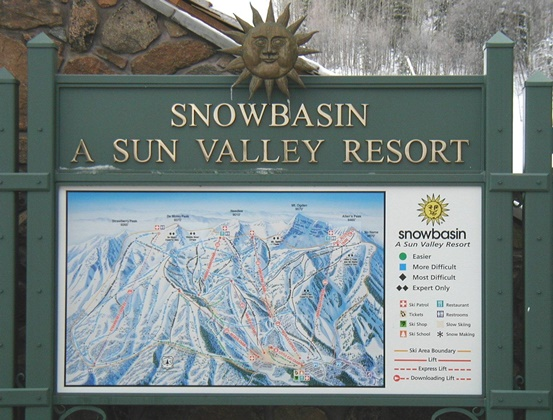 Printed Sign of Map for Snow Basin