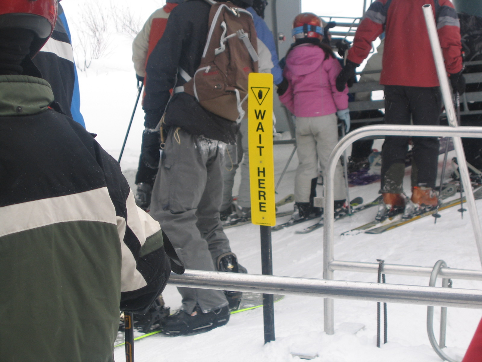 Wait Here Ski Lift Sign