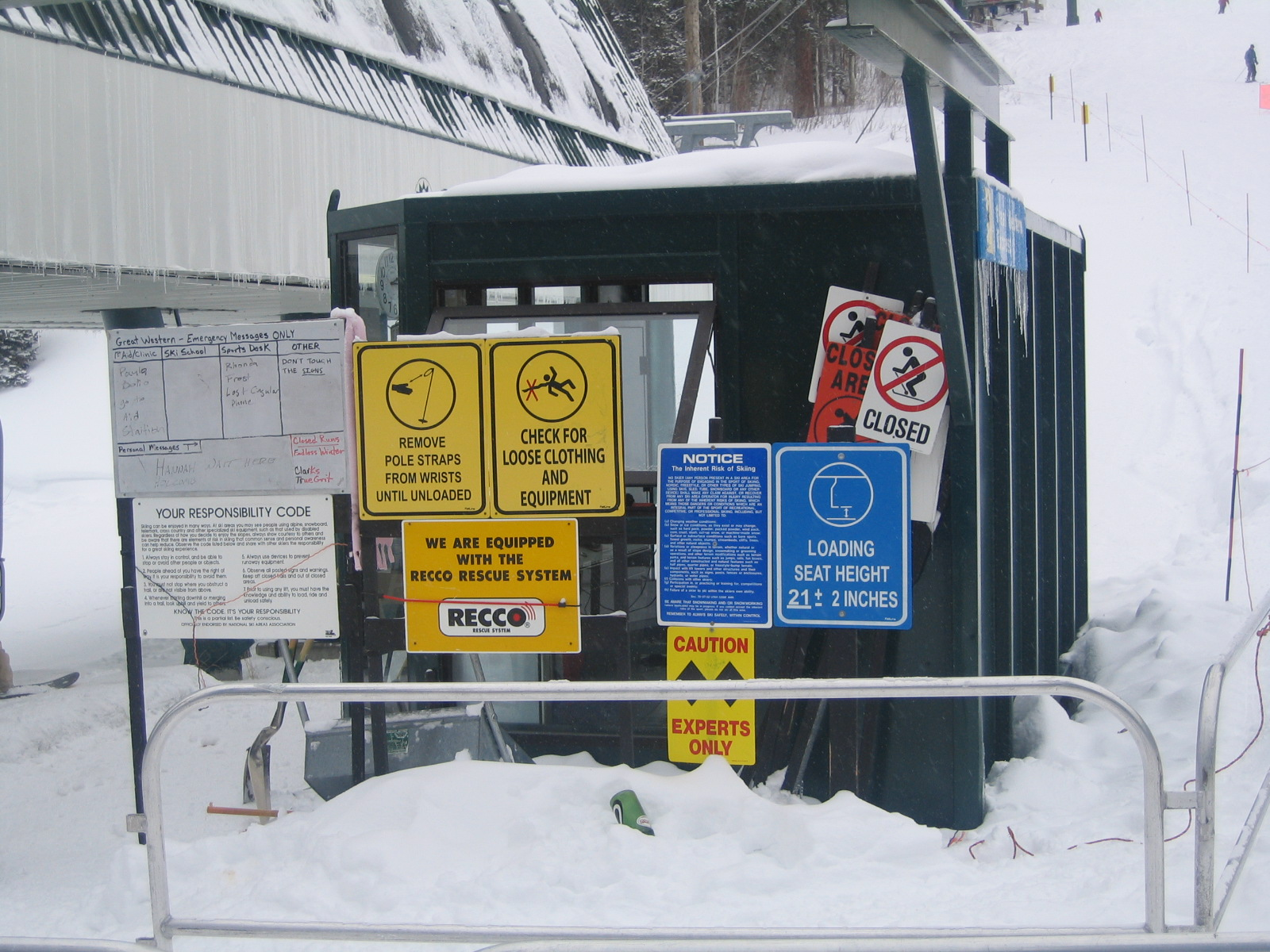 Numerous Information Signs for Ski Lift
