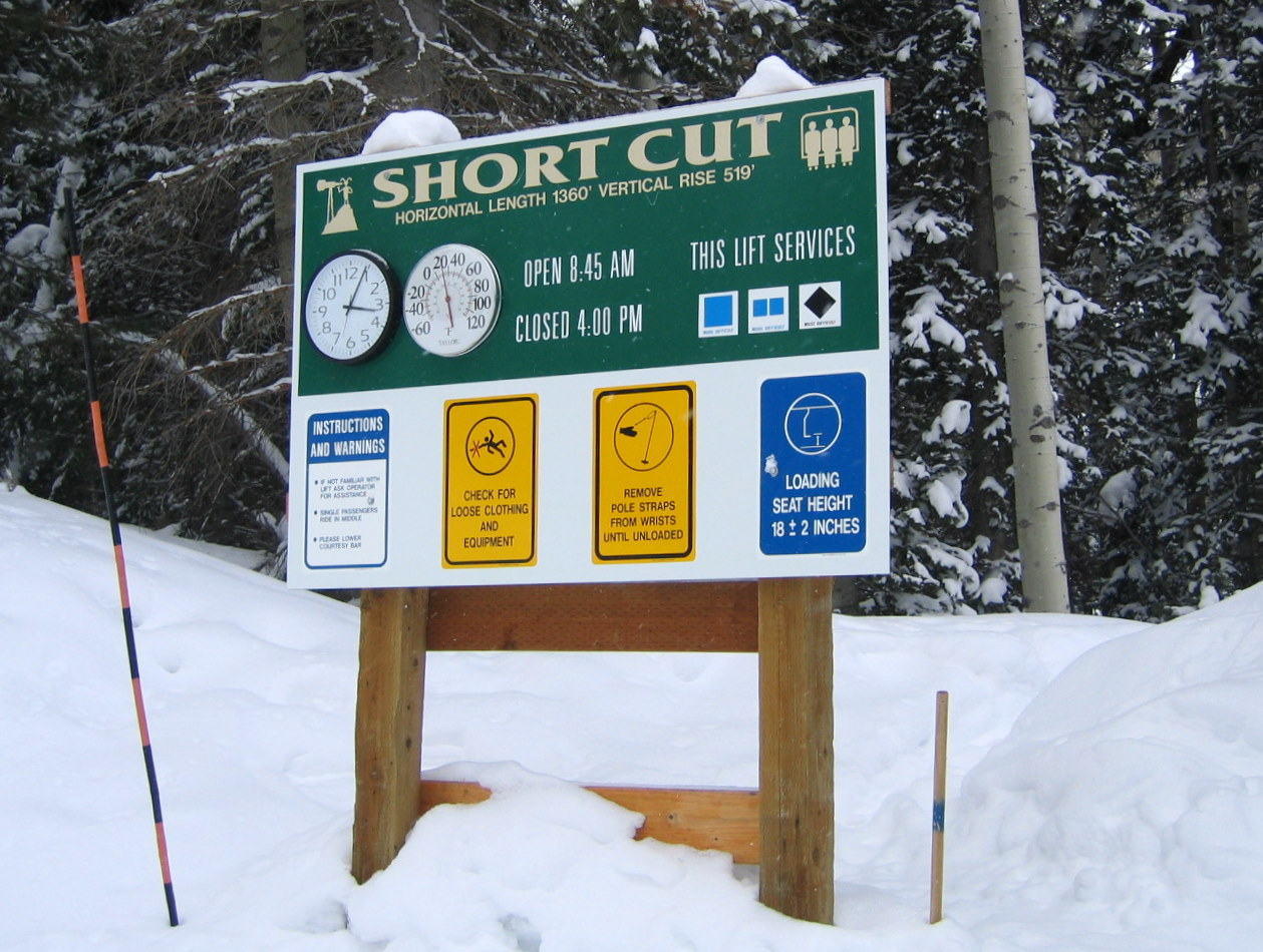Shortcut Informative Ski Trail Sign