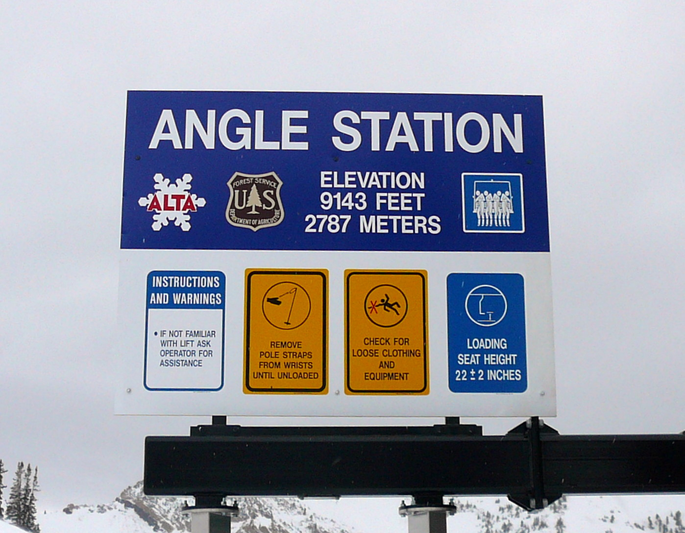 Alta Lift Sign for Angle Station
